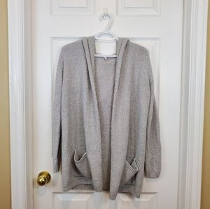 Grey hoodie open front knit cardigan sweater M/L
